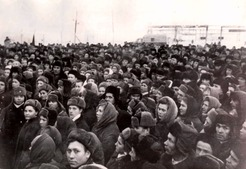 A rally to commemorate the commissioning of Novo-Ishimbayskiy Refinery, 1955
