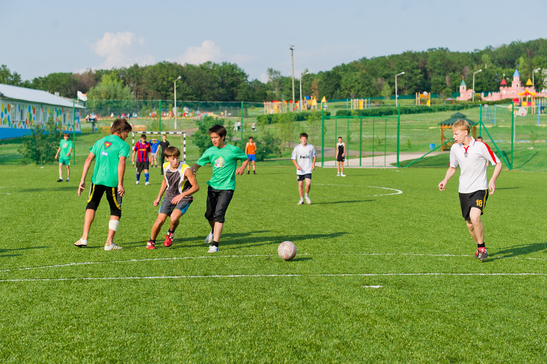 Football pitch of Sputnik Children's Recreation Center with a modern turf