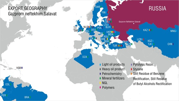 Geography of export supplies of Gazprom neftekhim Salavat Products